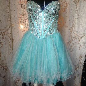 NWT Sherri Hill Fun Aqua Blue Gemstone Prom Dress✨